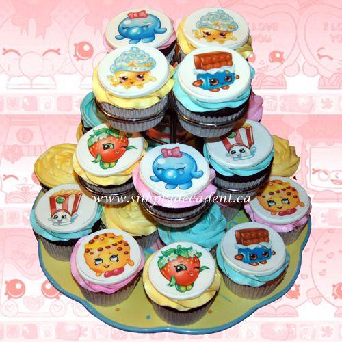 Shopkins Theme Edible Image Cupcakes Queen Cupcake Kooky Cookie Bubbles Cheeky Chocolate