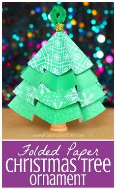 Folded Paper Christmas Tree Ornaments Winter Holidays Christmas