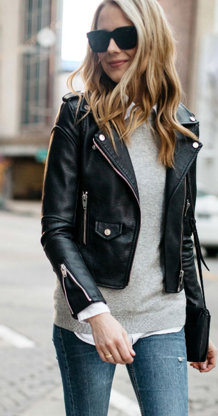 Leather Biker Jacket Outfit For Women  #leatherjacketoutfit