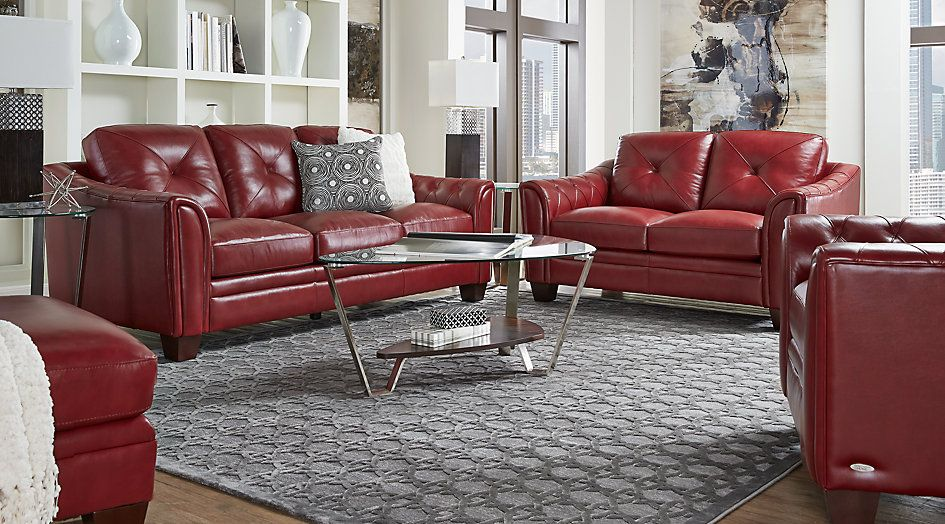 Picture Of Cindy Crawford Home Marcella Red Leather 3 Pc Living