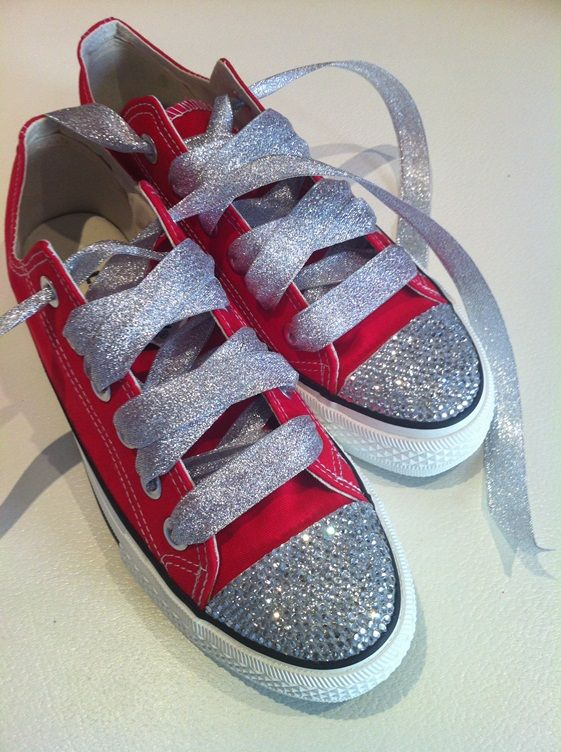 d3e5e7a16d9a Red Converse Shoes Featuring Clear Swarovski Crystals CO27  converse ...