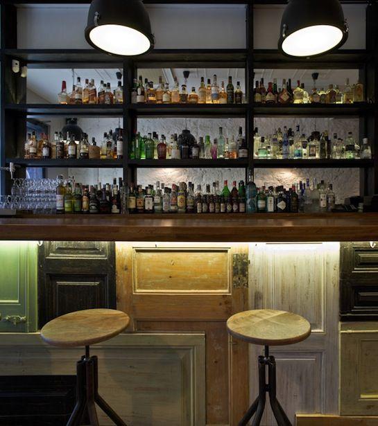 Botellero con iluminacion cafeteria pinterest barra - Botelleros para bares ...