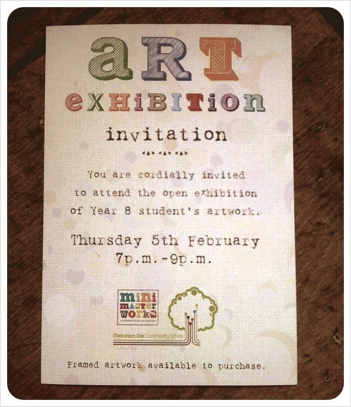 Art exhibition africa today tomorrow always featuring gert an example of an invite for a school art exhibition with minimasterworks stopboris Image collections