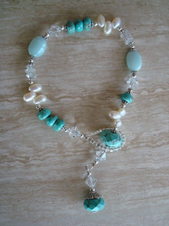 Gray Freshwater Pearl Blue Crystal Long Necklace 51/'/'