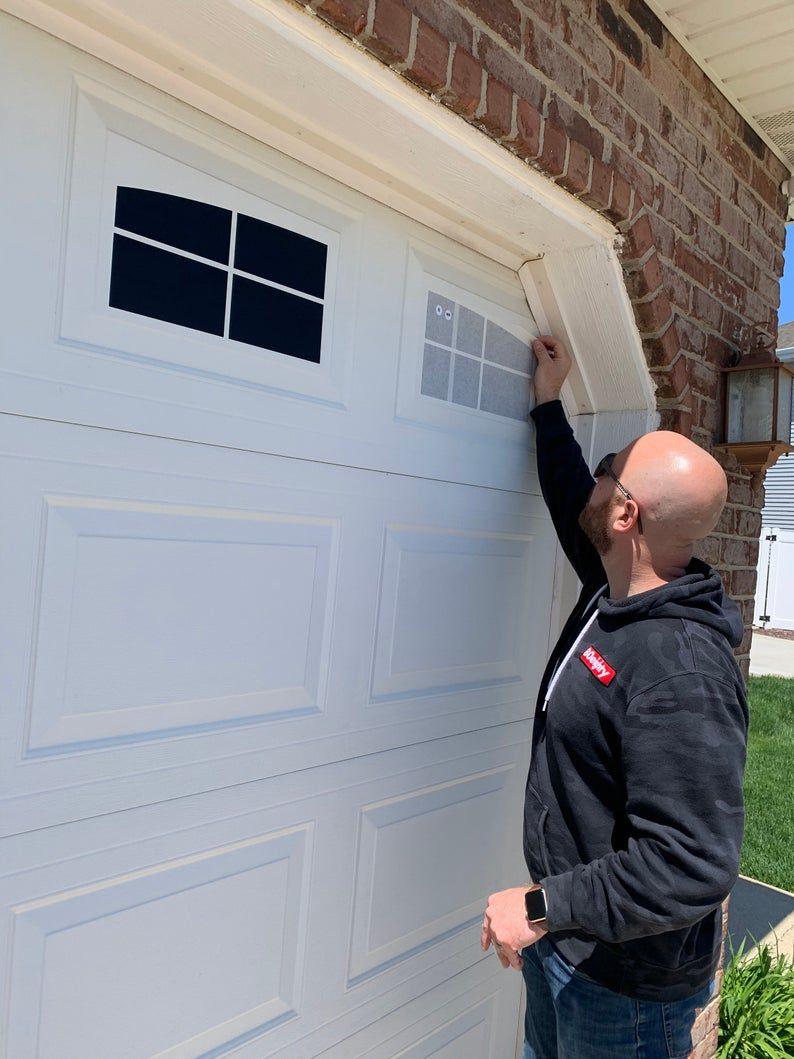 Craftsman Style Faux Garage Door Windows Vinyl Decals No Faux Hardware Included In 2020 Faux Garage Door Windows Diy Garage Door Garage Door Types