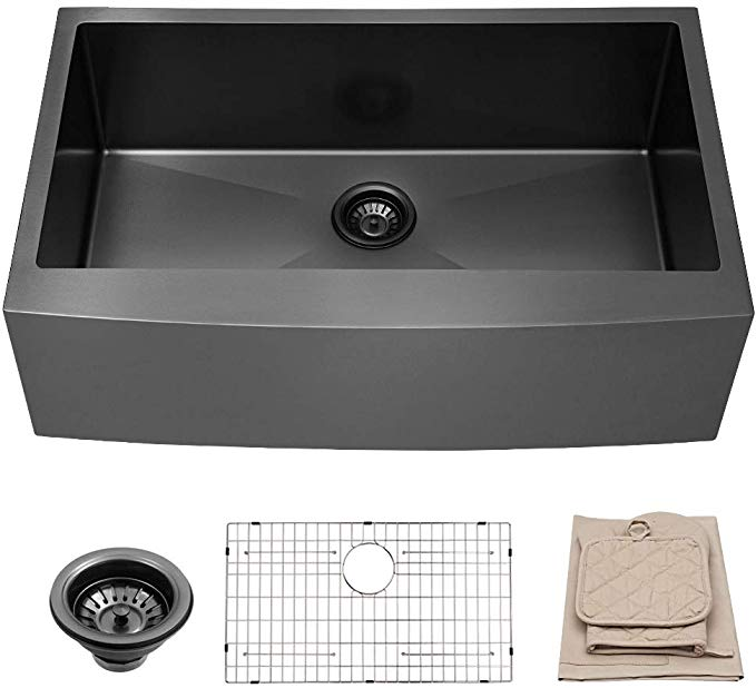 Lordear 33 Inch Farmhouse Apron Single Bowl 16 Gauge 10 Inch Deep Stainless Steel Kitchen Sink Matte Black Amazon C Black Farmhouse Sink Sink Kitchen Sink