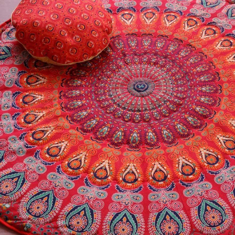 petit tapis couvre fauteuil rond dessin mandala rouge. Black Bedroom Furniture Sets. Home Design Ideas