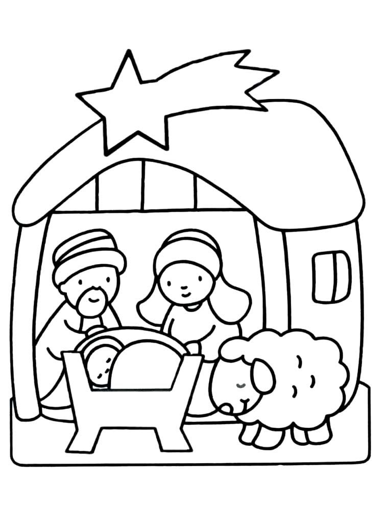Christmas Coloring Pages Manger Scene Background