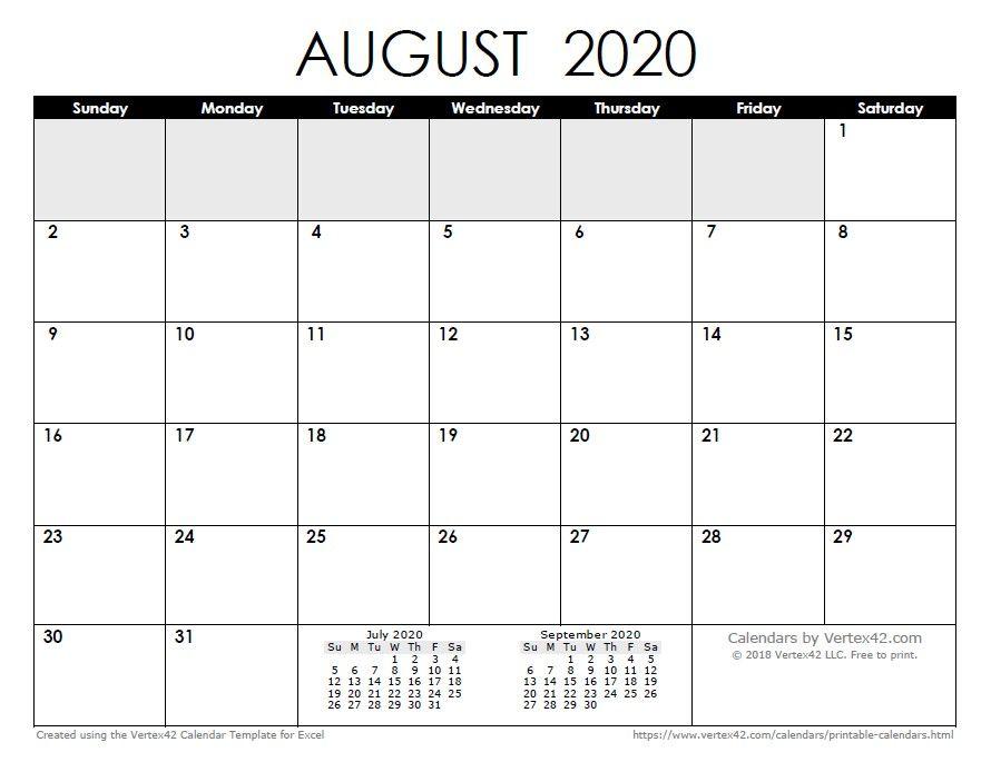 Unique August 2020 Calendar Printable