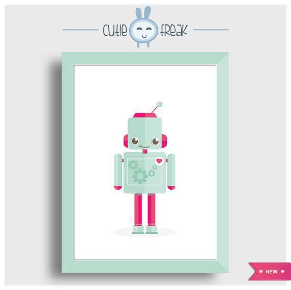 Cutie Robot #Arte #Ilustracion #Digital_Art #Illustration #Digital #poster #prints_illustrations #wall_decor #home_decor #childrens_room #kids_poster #monsters_friends #robot #colorful_monster
