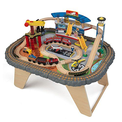 KidKraft 17564.0 Transportation Station Train Set and Table Toy ...
