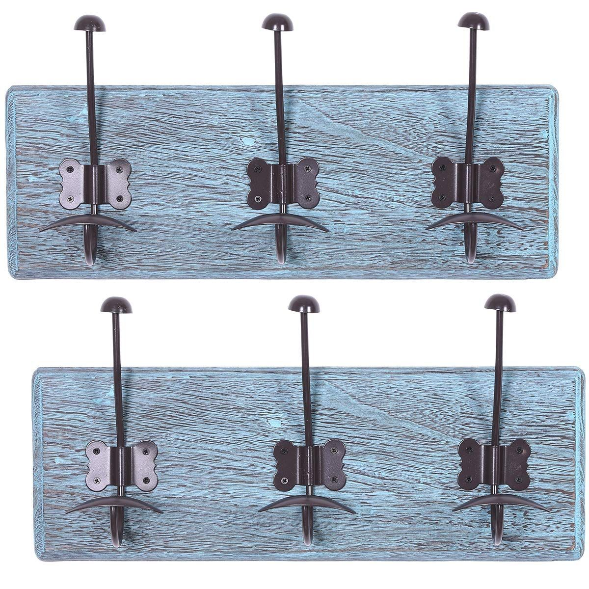 Rustic Wall Mounted Coat Rack With 3 Sturdy Hooks Set Of 2 Vintage Entryway Wooden Coat Racks Rustic Wooden Coat Rack Wall Mounted Coat Rack Rustic Blue