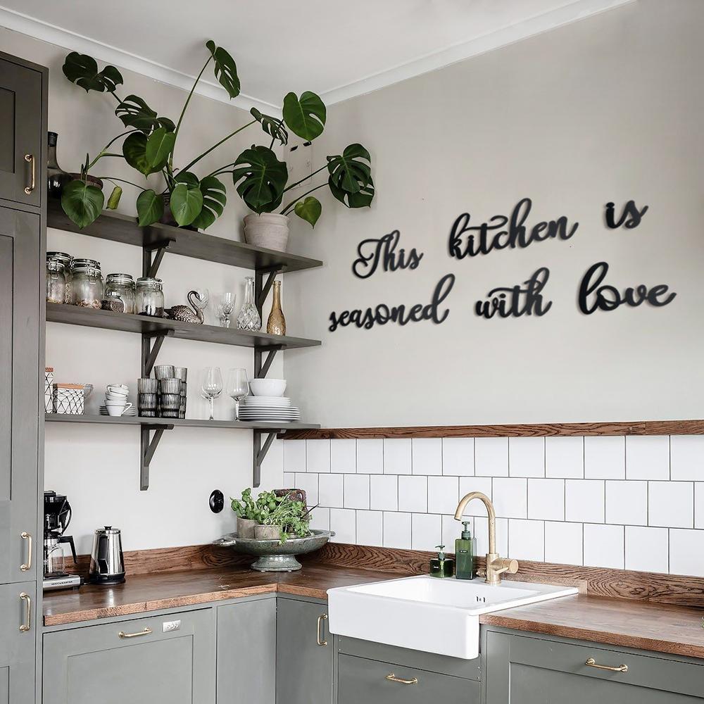 Déco Métal Cuisine Amour en 15  Décoration murale métal