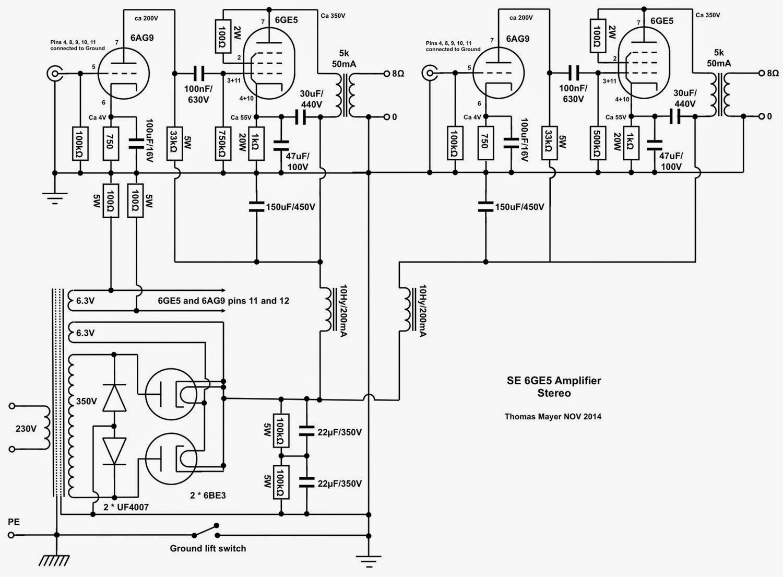 6ge5 stereo amplifier part 1 circuit amplifier