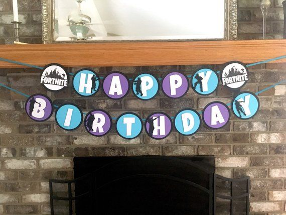 "Your Fortnite gamer will love this HAPPY BIRTHDAY banner! The banner is made with black cardstock background, alternating aqua and purple foreground, with white letters. Fortnite logos are on the ends of the HAPPY banner and the optional NAME banner. Circles are approximately 5.25"" and"