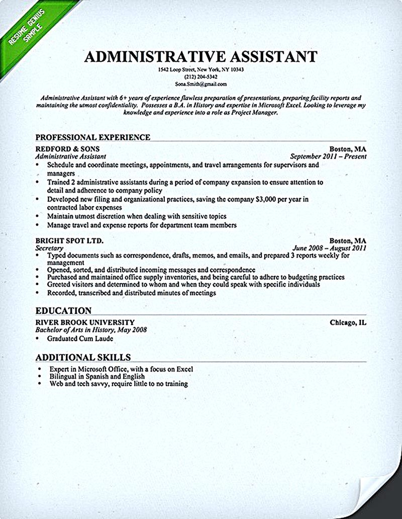 Administrative Assistant Resume Should Be Well Noticed If You Want