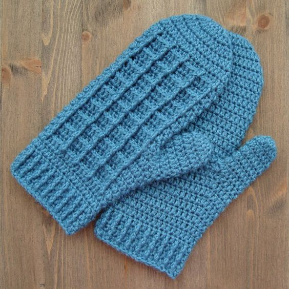Turquoise Mittens With Post Stitches Free Crochet Pattern By
