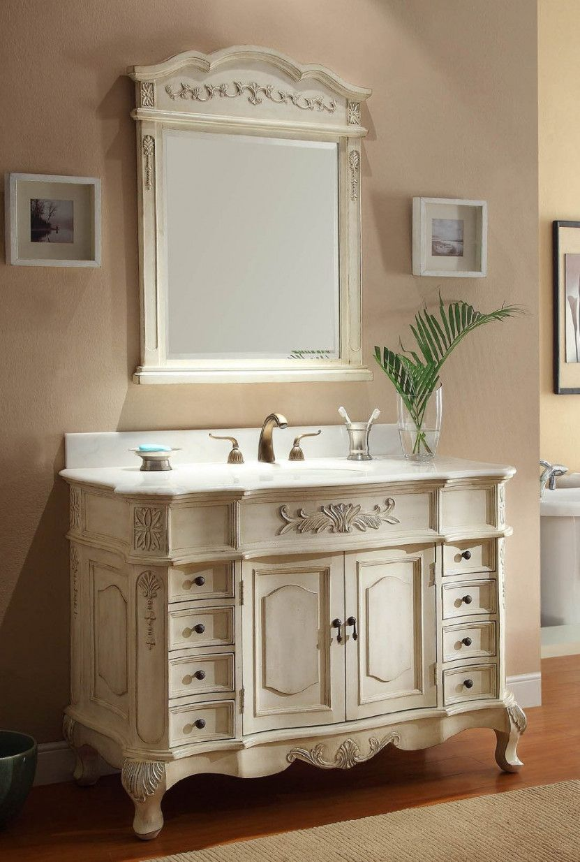 77+ Antique White Bathroom Vanity Cabinet - Interior Paint Color Schemes  Check more at http://1coolair.com/antique-white-bathroom-vanity-cabinet/ - 77+ Antique White Bathroom Vanity Cabinet - Interior Paint Color