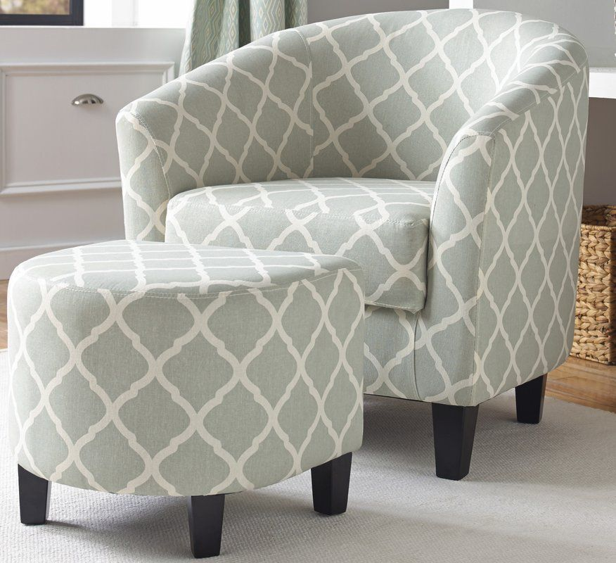 2 Piece Upholstered Barrel Chair And Ottoman Set