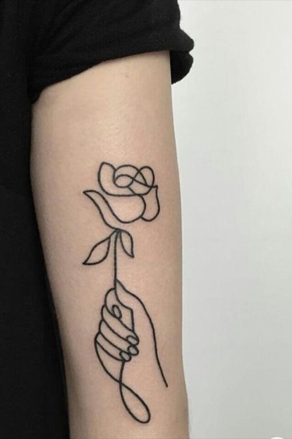 37 Simple And Elegant Rose Tattoos In Watercolor And Bright Colors In 2020 Hand Tattoos Line Tattoos Rose Tattoos