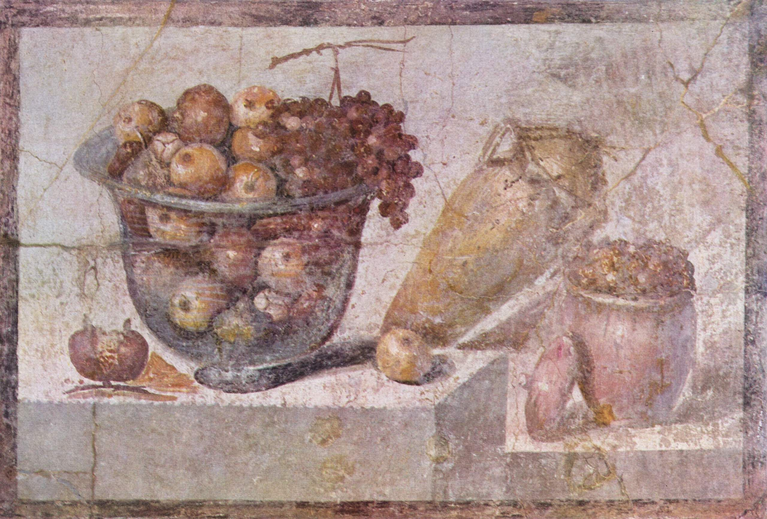 /\ /\ . Glass Bowl of Fruit and Vases . Roman wall painting in Pompeii . 70 AD