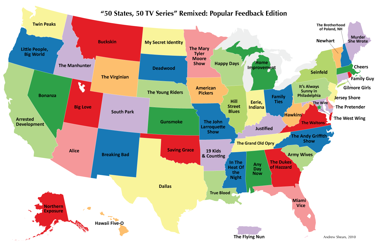 50 States 50 Tv Series The Most Popular Television