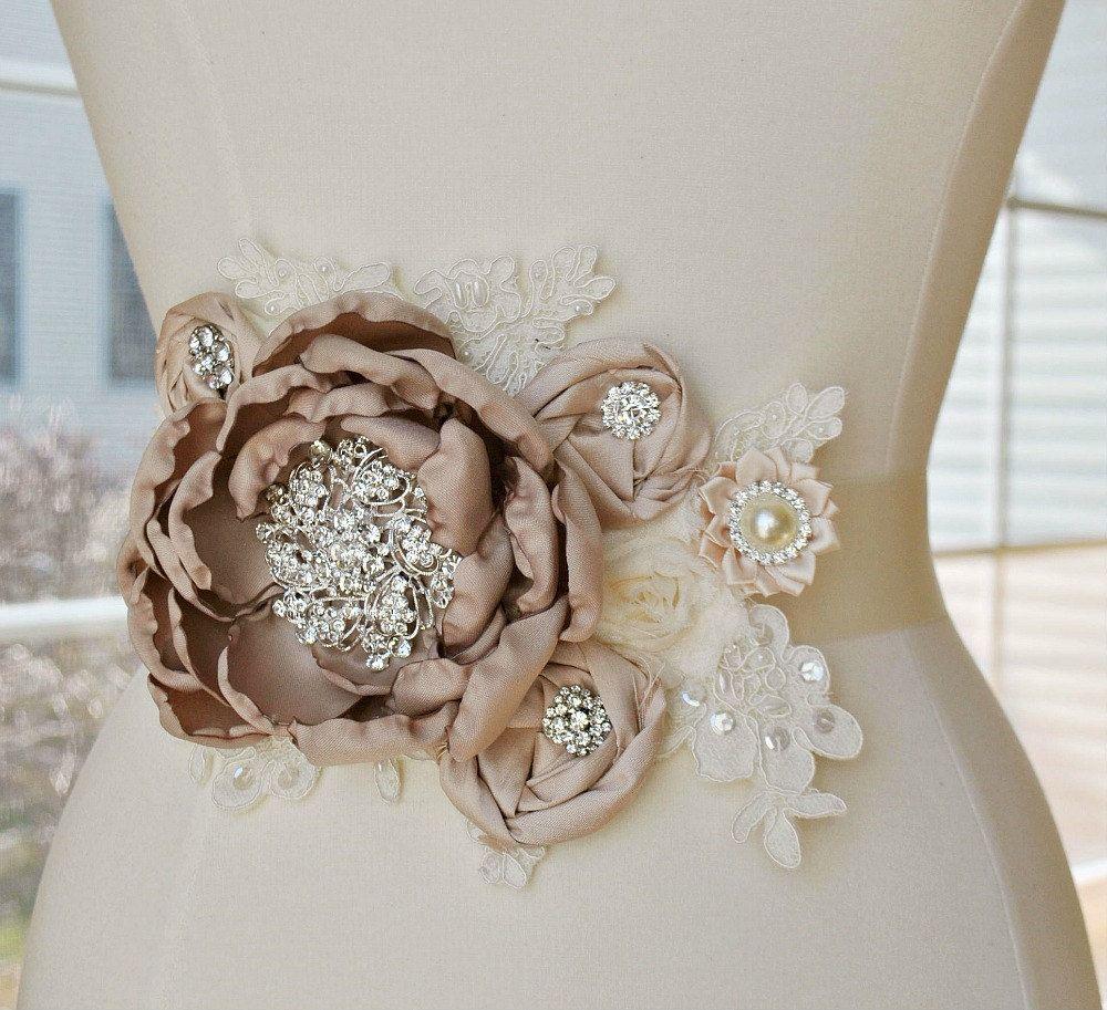 Burlap wedding dress sash  Taupe Blush and Ivory Bridal Sash  Vintage Lace Flower Bridal