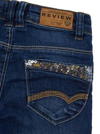 REVIEW FOR KIDS Slim Fit Jeans mit Pailletten Besatz in Blau