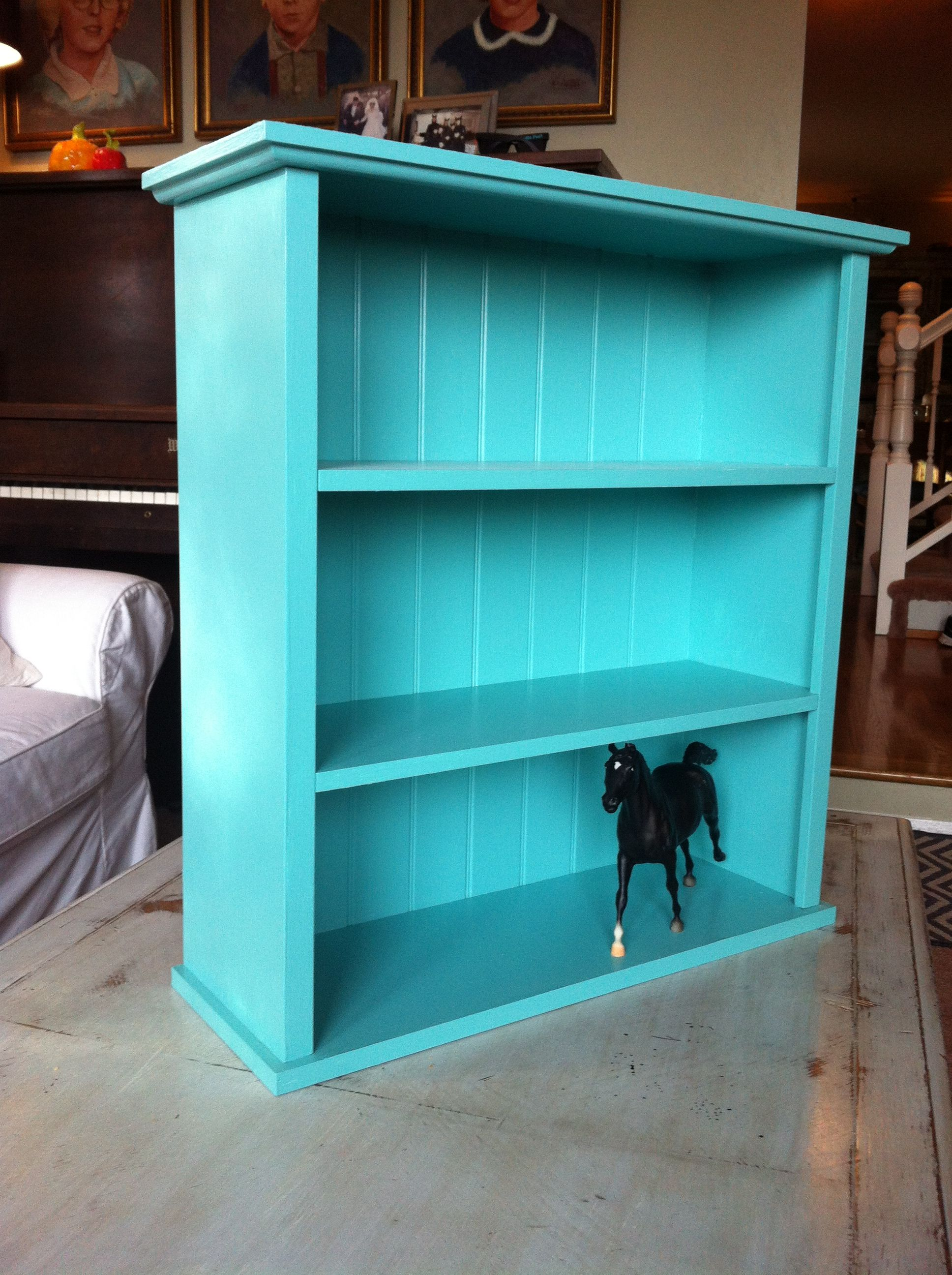pretty nice 80b8c d7ca4 Small turquoise bookshelf with bead-board back. | Valley ...