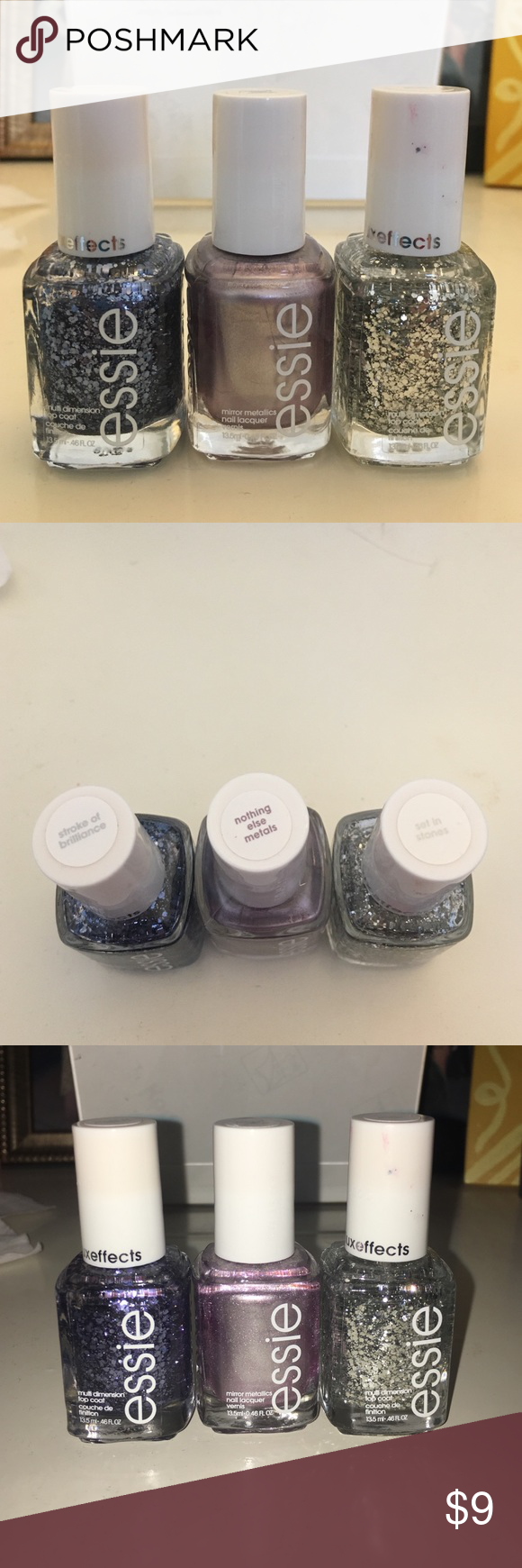 Essie nail polish Set of 3 Essie nail polishes. Each used once or twice. At least 80% left. Still smooth with no chunks. Two are glitter and one is metallic. essie Makeup