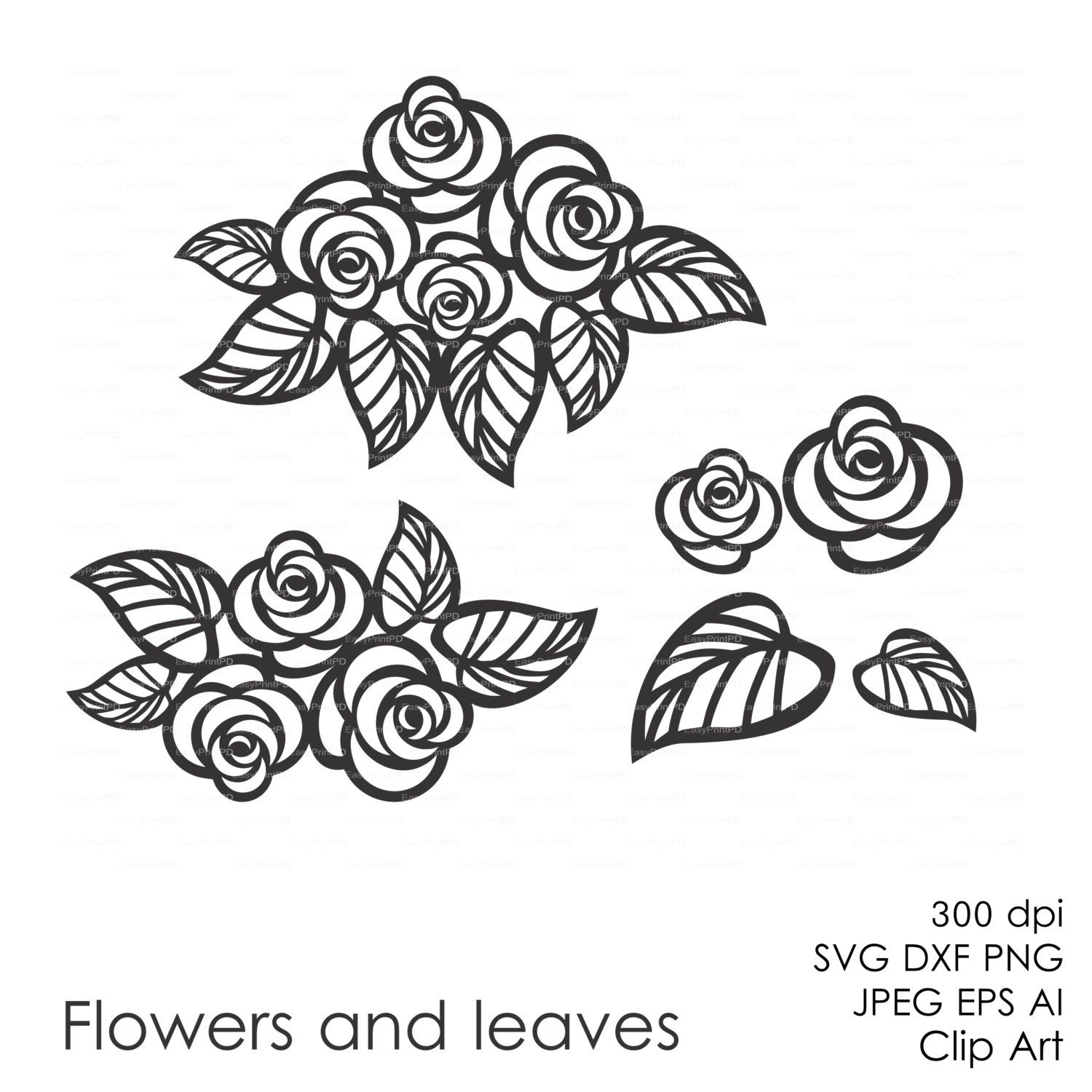 Flowers And Leaves Eps Svg Dxf Ai Vector Digital