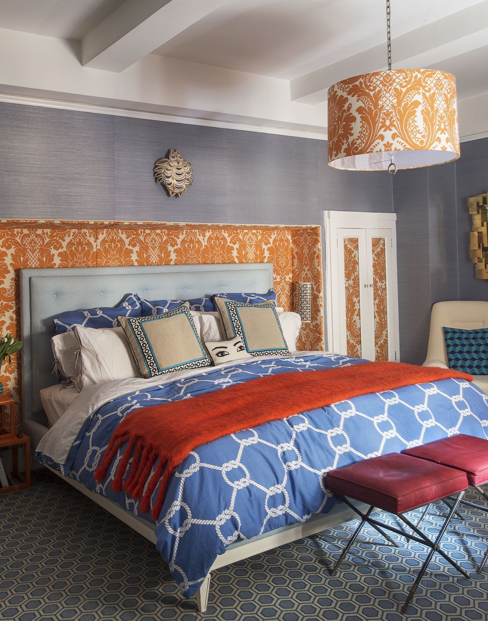 Jonathan Adlers Groovy Bedroom Featuring Palm Springs Pillows And - Jonathan adler bedroom