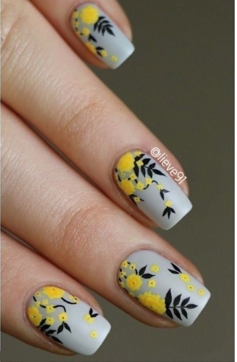 Easy Flowers Nail Art Designs 100 Pictures Yellow Nail Art Floral Nail Art Floral Nails
