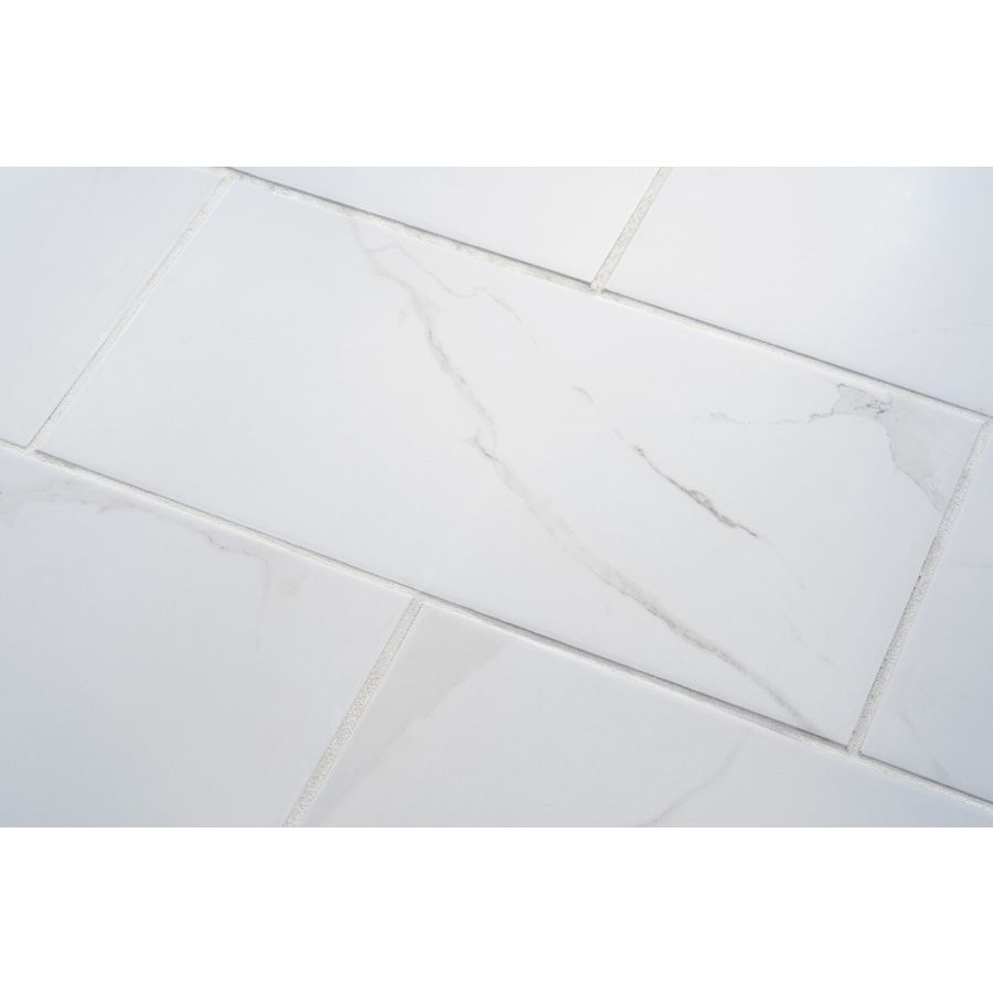 Shop 7 pack calacatta white glazed porcelain floor tile common 12 in x 24 in actual - Lowes floor tiles porcelain ...
