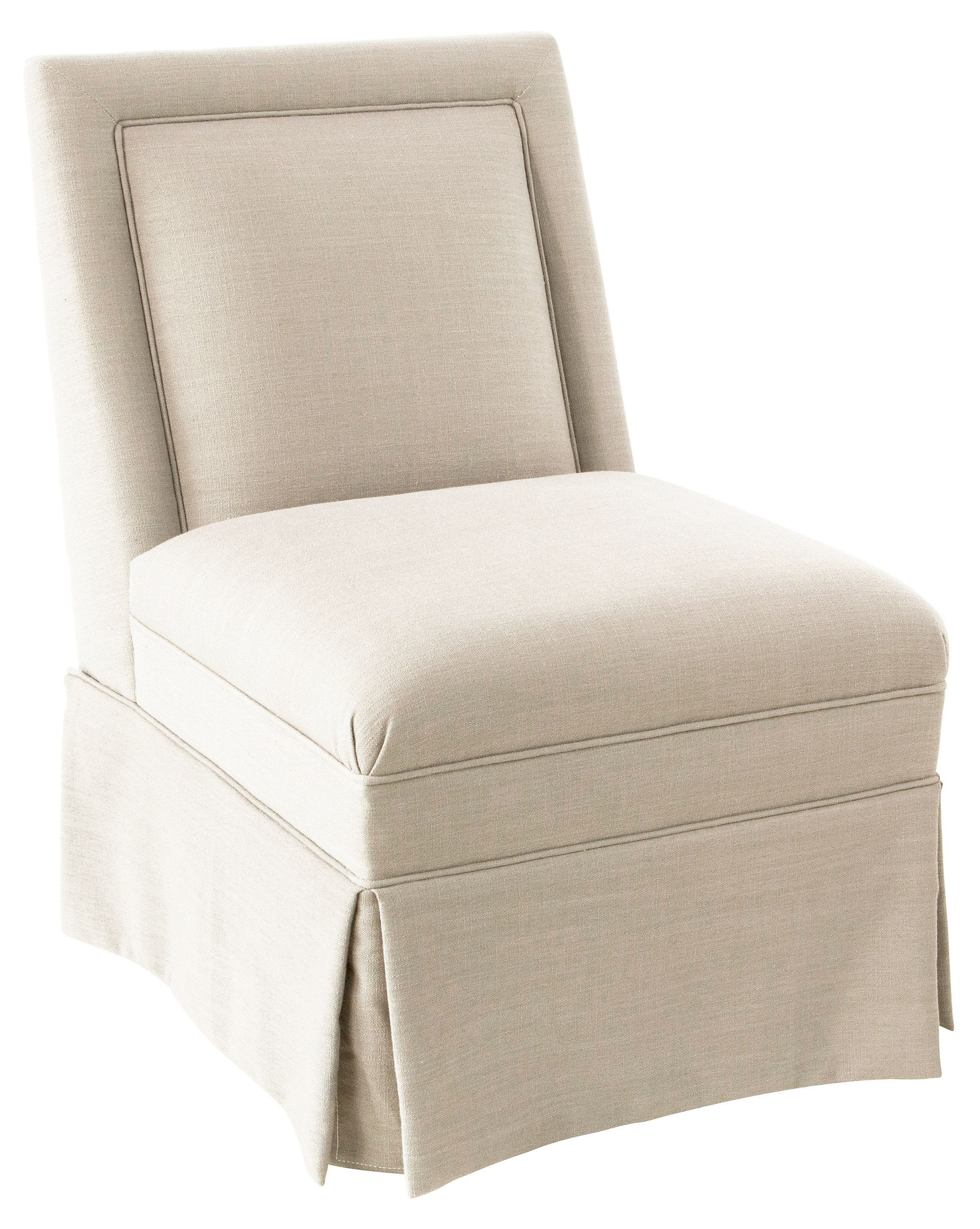 Designed by us and available only at One Kings Lane: This skirted slipper chair…