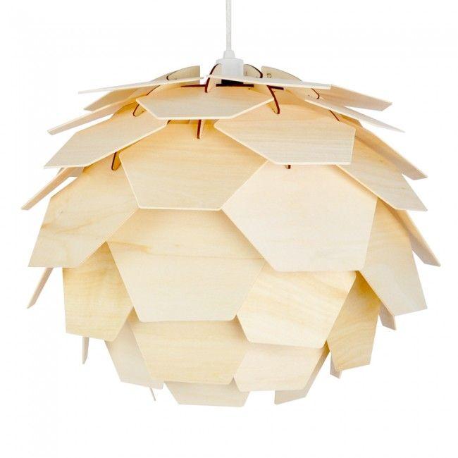 Modern Designer Layered Wood Artichoke Ceiling Pendant Light Shade