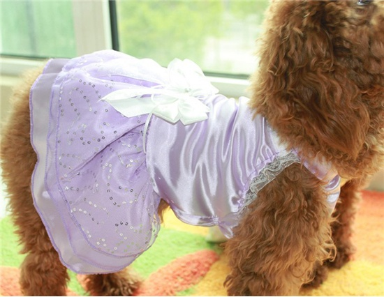Stretch Satin Apparel Sequin Mesh & Organza Hemline Wedding Dress for Pets Size M (Purple