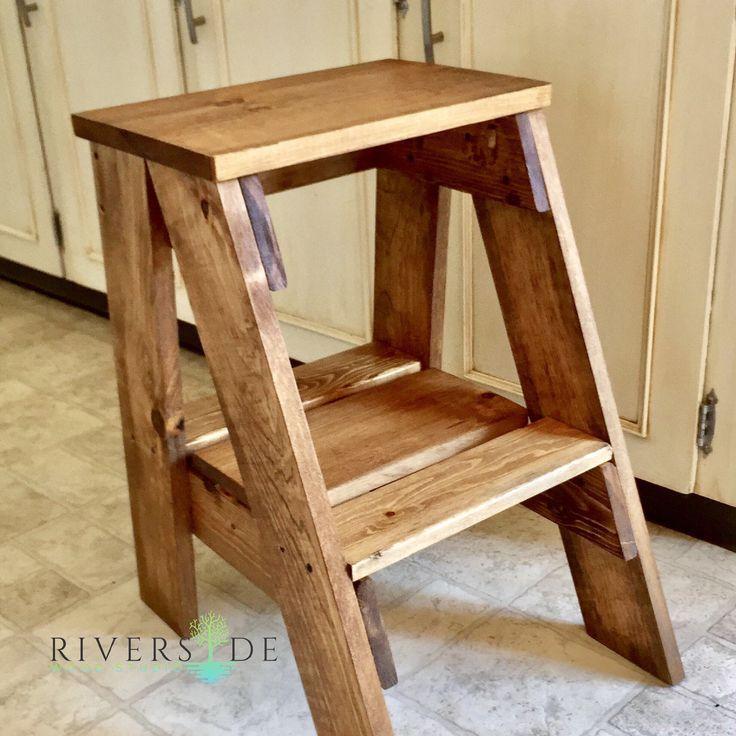 Best Rustic Farmhouse Wood Step Stool Custom Painted Step 400 x 300