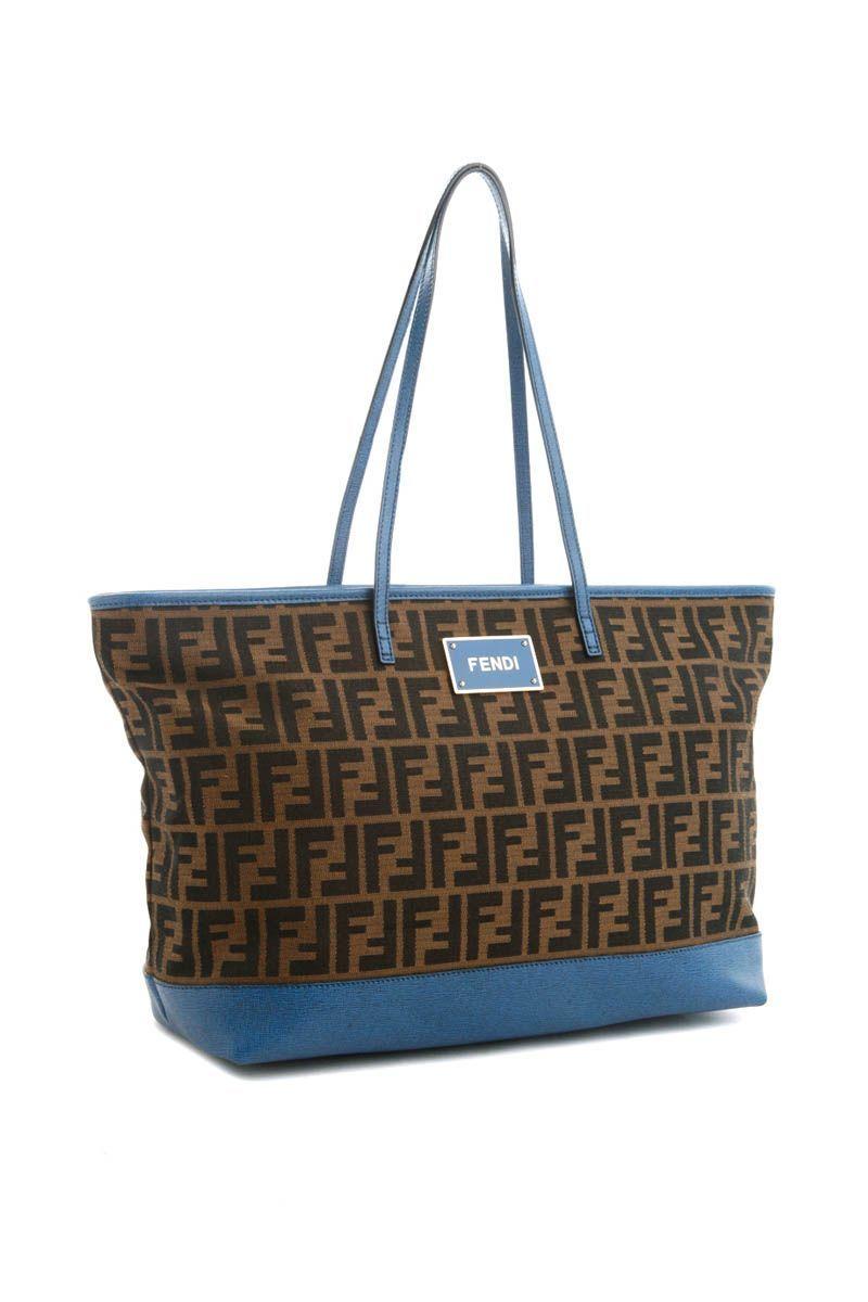 FENDI Shoulder Tote Bag (Tobacco/Blue)