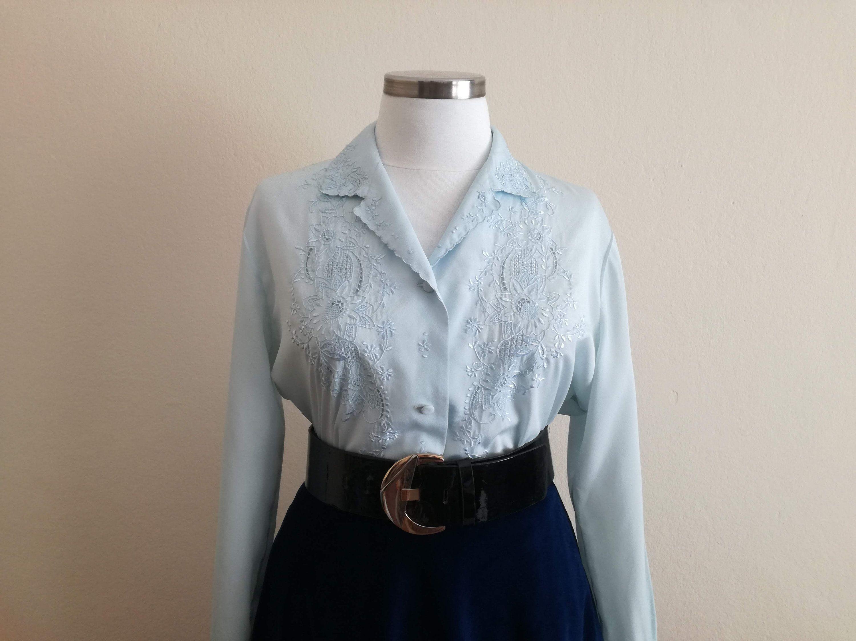 Vintage 90s light blue floral embroidered blouse