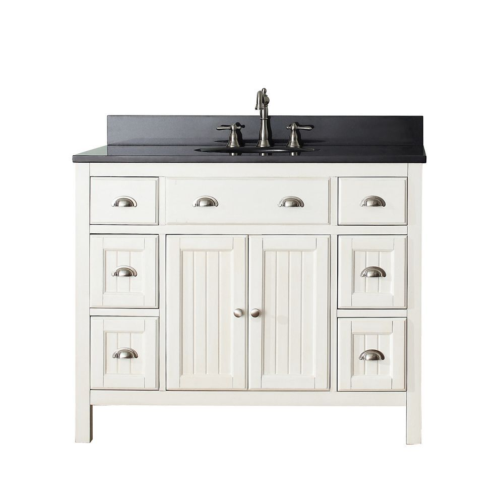 Awesome Hamilton 42 In. Vanity In French White With Granite Vanity Top In Black