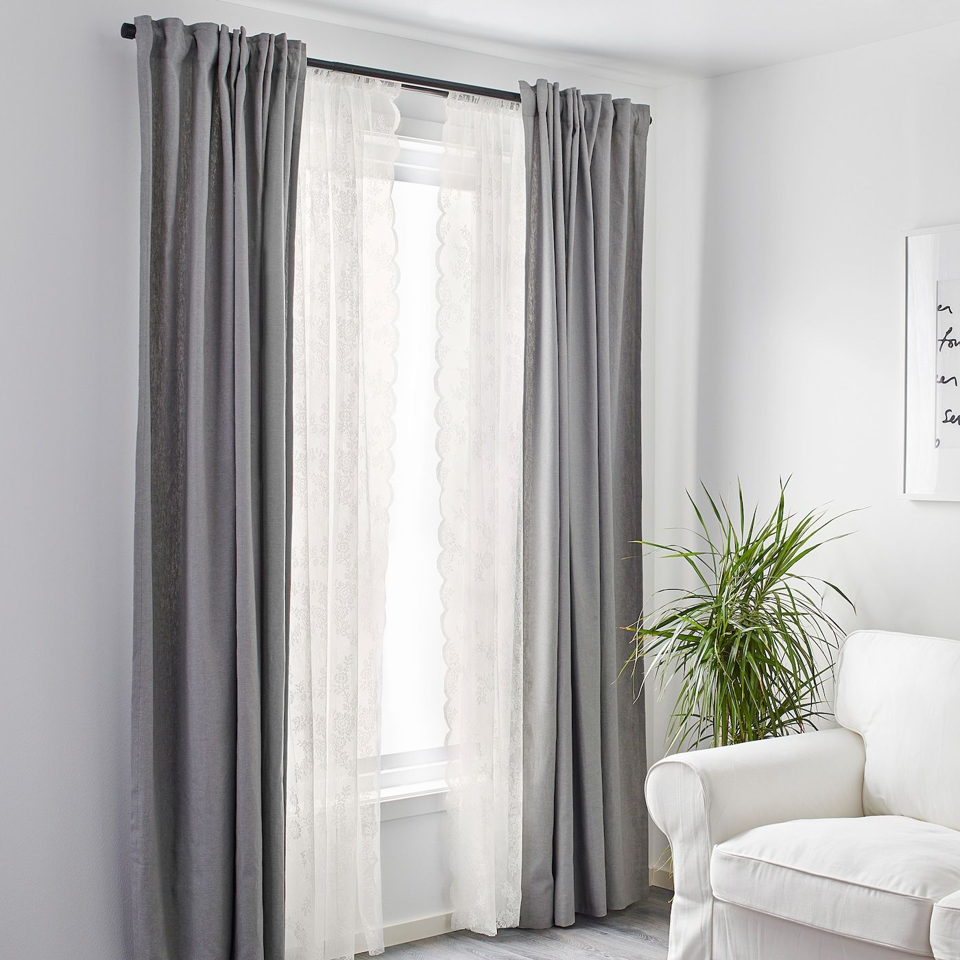 Alvine Spets Lace Curtains 1 Pair Off White Ikea Curtains Curtains Living Room Lace Curtains