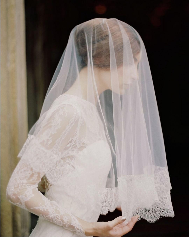 Beautiful long sleeve lace arms u veil combo weddinginspo wedding