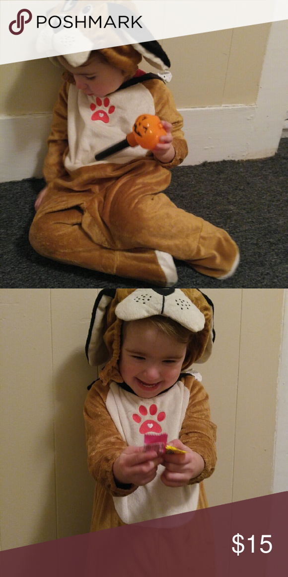 18 month puppy costume unisex. 18 month costume.  Comes with feeties and hat.  Super Cute! Costumes Halloween