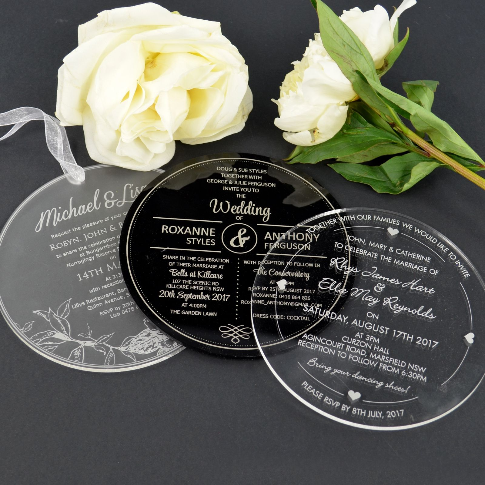 Frosted Black And Clear Acrylic Round Wedding Invitations