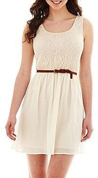 e5ccb66330 ShopStyle  jcpenney Belted Lace Skater Dress