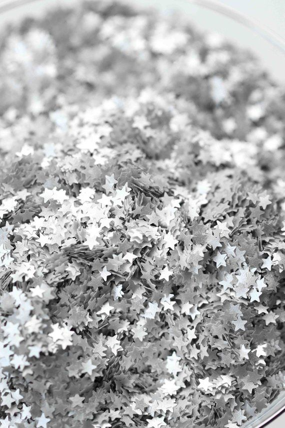 Edible Silver Metallic Star Glitter Sprinkles, Bulk Edible