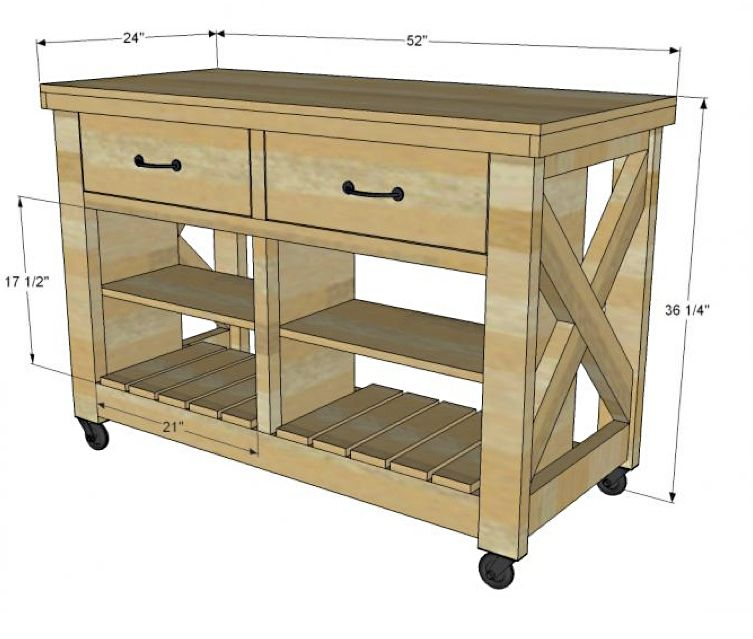 Kitchen Island Table Plans: Rustic X Kitchen Island DIY Project From Ana White