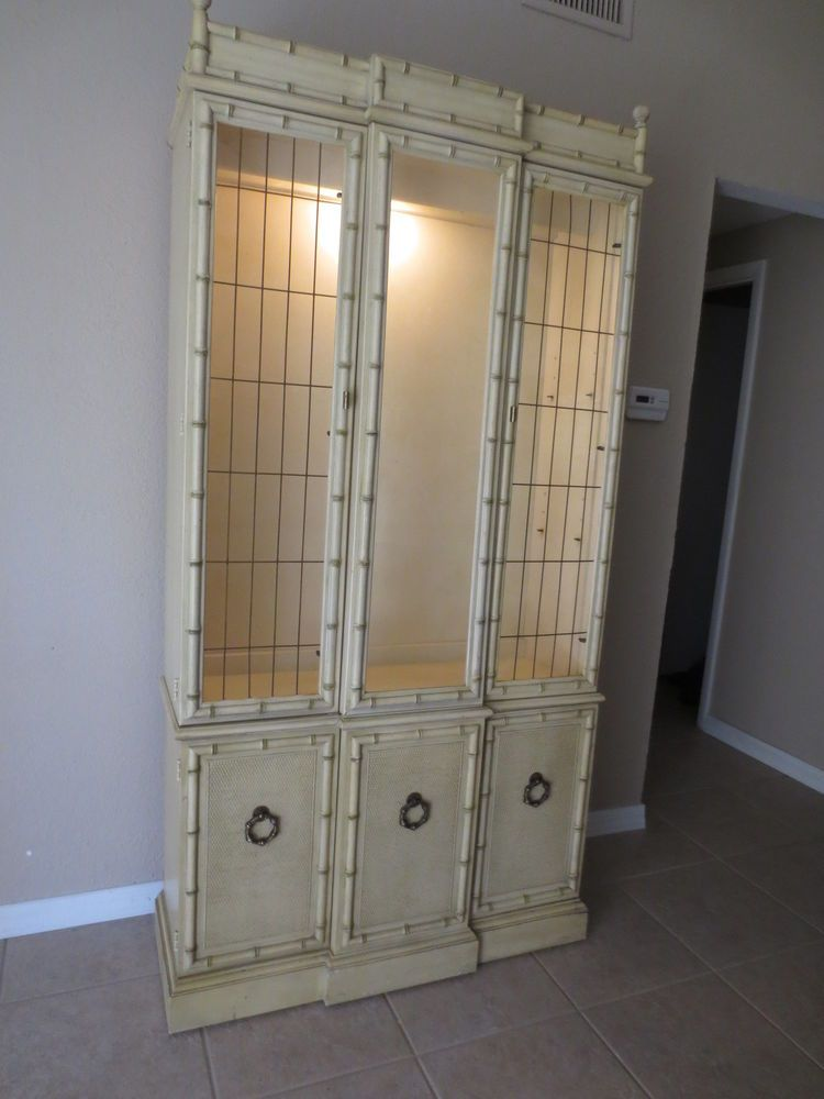 Faux Bamboo China Cabinet Hutch Breakfront Hollywood Regency Mid ...