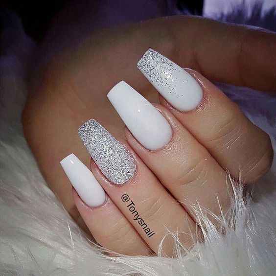 These beautiful classy white and sparkly nails. Are you looking for short  coffin acrylic nail design that are excellent for this season? - 45 Short Coffin Acrylic Nail Designs For This Season Sparkly Nails